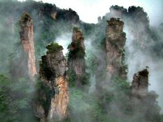 "HALLELUJAH MOUNTAINS, CHINA.   These Chinese mountains are the inspiration for creating the environment in the movie ""Avatar"" and they are wonders of nature."