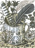 Angie Lewin: Alphabet and Feathers - wood engraving. The mug featured in the print was designed by Eric Ravilious. Angie Lewin, Vintage Lettering, Wood Engraving, Linocut Prints, Artwork Prints, Printmaking, Screen Printing, Artsy, Feathers