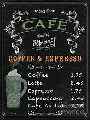 Jean Plout Art - Cafe Blackboard Coffee Menu-JP3046 by Jean Plout
