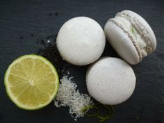 A black sesame macaron with a lime and coconut buttercream. Dairy free and gluten free. Naturally coloured and made with local freerange eggs.