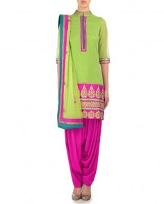 Parrot Green and Fuchsia Patiala Suit with Gota Work