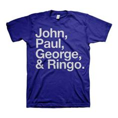 The gang's all here. This T-Shirt features a bold list of The Beatles member's names; John, Paul, George, and Ringo.