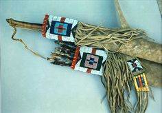 detail from Sioux type bow case quiver, Sinew beaded, Buffalo hide, quillwork, Mark miller