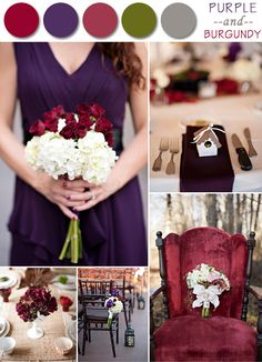 2014 trending purple and burgundy fall wedding color ideas