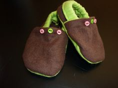 Green, brown, and pink little shoes for my Jessie