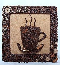 DIY 3D Coffee Cup Picture Decor with Coffee Beans #craft #decor #coffee_bean