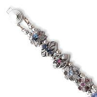 14k White Gold 7.5in Polished 12 Piece Slide Bracelet