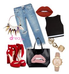 Untitled #253 by dreajj on Polyvore featuring polyvore New Look MANGO Jimmy Choo RED Valentino River Island Michael Kors Lime Crime fashion style clothing