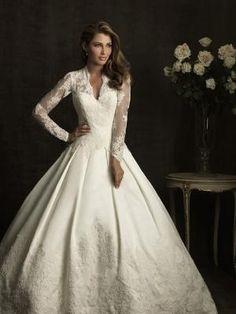 Ivory Satin Taffeta  Lace Illusion Long Sleeve Wedding Gown - Unique Vintage - Cocktail, Evening, Pinup Dresses