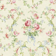 Brewster Home Fashions Willow Cottage Floral Bouquet Wallpaper in White