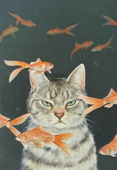 "Art Inspiration: Cute Grumpy Cat Acrylic Painting ""Goldfish & Cats"" By Ochiyopi. I Love Cats, Crazy Cats, Cute Cats, Animals And Pets, Cute Animals, Baby Animals, Funny Animals, Motifs Animal, Cat Drawing"