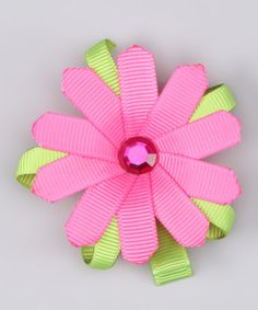 Take a look at this Pink & Green Sparkle Flower Clip by Couture Hair Bows on #zulily today!