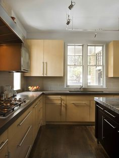 Dark Floors Light Kitchen Cabinets maple slab cabinets, darker floors. bryant residence 05