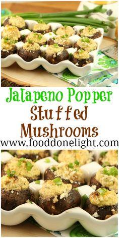 Best Stuffed Mushrooms - Jalapeno Popper Stuffed Mushrooms, Low Calorie, Low Fat Appetizer