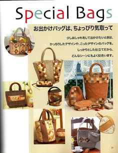"""Free copy of """"Special Bags"""" book from: 22 июля 2011 г. Japanese Patchwork, Patchwork Bags, Quilted Bag, Fabric Purses, Fabric Bags, Magazine Couture, Diy Bags Patterns, Japan Crafts, Japanese Sewing Patterns"""