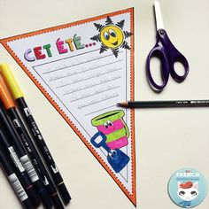 """Fun French Summer Resources: a list of FREE printables, videos, and much more! All summer-themed for your French classroom :) (picture) """"Cet été..."""" pennant for classroom bulletin boards!"""