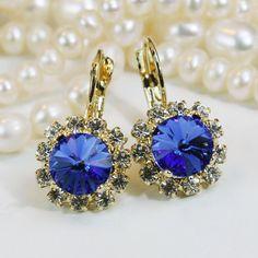 Royal Blue Gold earrings Sapphire Blue Swarovski Crystal Leverback Drop Earring Royal Blue Wedding Deep Blue Gold Earrings,Sapphire,GE96