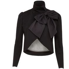 Alice + Olivia Addison Bow Collar Crop Jacket ($398) ❤ liked on Polyvore featuring outerwear, jackets, alice olivia jacket, oversized jacket and cropped jacket