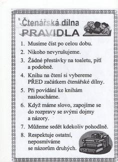 Čtenářská dílna - pravidla