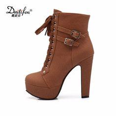 Daidifen 2017 Autumn Winter Women Ankle Boots high heels lace up leather double buckle platform short booties new Plus size 48  #Affiliate