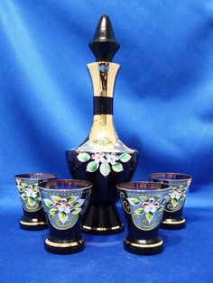 RP: Murano Venetian Art Glass Decanter Amethyst Gold Cordial Liqueur Set - ebay.com