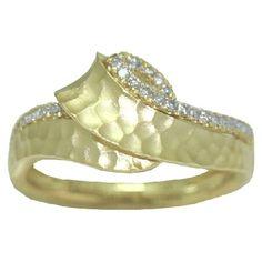 0.24 cttw. Hammered Finish Diamond Ring https://www.goldinart.com/shop/diamond-rings/0-24-cttw-hammered-finish-diamond-ring #DiamondRing