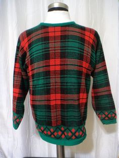 Nice Christmas Sweater, Vintage Ugly Christmas Sweater, Xmas Plaid Sweater (Size: Women's Medium) Christmas Present Look, Holiday Sweater Plaid Christmas, Ugly Christmas Sweater, Christmas Presents, Xmas, Holiday Sweaters, Ready To Wear, Men Sweater, Turtle Neck, Pullover