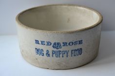 RED ROSE DOG & PUPPY FOOD ~ Vintage Blue Stoneware Pottery Food Bowl Dish in Collectibles, Advertising, Pets | eBay