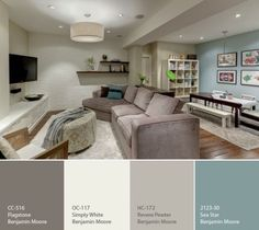 Great Benjamin Moore Revere Pewter Living Room With Additional Home Interior Design with Great Benjamin Moore Revere Pewter Living Room Home Remodel Ideas - Modern Home Interior Design Sofa Design, Wall Design, Shelving Design, Shelving Ideas, Basement Colors, Basement Layout, Basement Designs, Playroom Color Scheme, Basement Color Schemes