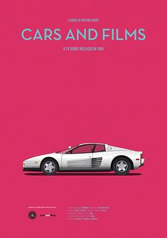 Poster of the car from Miami Vice. Illustration Jesús Prudencio. Cars And Films