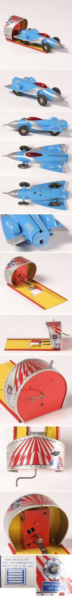 Ideal Toy Mechanical Jet Car Plastic Tin
