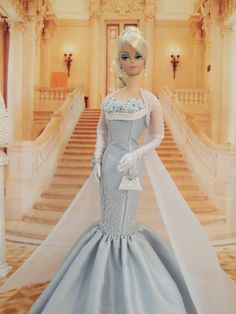OOAK 'Frozen' Ball Gown Fashion for Silkstone Barbie by Joby Originals