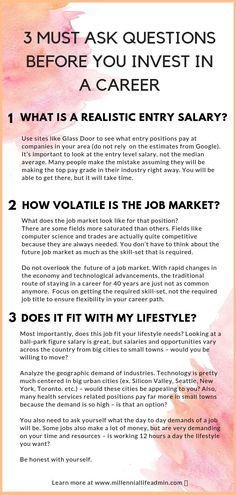 A little lost on how to choose a career right for you? Need some help figuring out what to do with your life? These are the 3 questions you must ask yourself before choosing a career! Job Career, Career Planning, Career Coach, Career Change, Career Advice, Switching Careers, Choosing A Career, First Resume, I Quit My Job