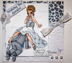 A Funny Handmade Wedding Card Of The Groom Fetching Garter From Bride This