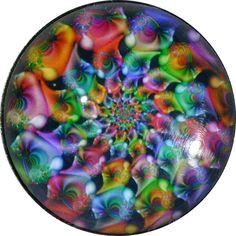 "Crystal Dome Button Mystical Spiral #21 Lg Sz 1  3/8"""