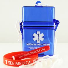 "Slim Medical ID Box. A great new way to carry your medical ID information and other items such as hotel key card, credit card, tablets etc. Our exclusive range of Medical ID Boxes are great for use on the beach, when travelling or when out about town.     Each Medical ID Box includes the following:         - Medical ID Box.   - Silicone Wristband printed with ""SEE MEDICAL INFO BOX"".   - Handy ""dinky"" pen to complete the Medical ID Insert with"
