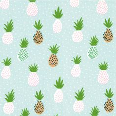 Tissu ananas menthe x10cm
