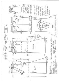 Esquema de modelagem de vestido evasê manga longa tamanho 46.