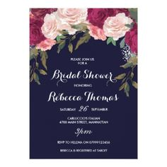 #invitations #wedding #bridalshower - #Navy bridal shower invitation burgundy pink floral