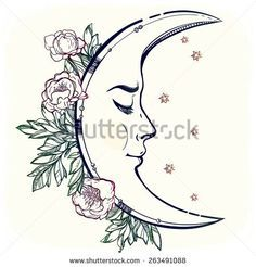 half moon with face tattoo - Google Search