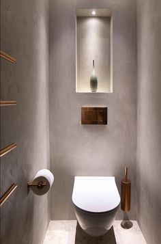 Janey Butler Interiors small cloakroom with polish plaster walls & bronze Vola fittings and towel rail. Stylish simplicity by the Llama Group. Bronze Bathroom, Downstairs Bathroom, Modern Bathroom, Small Bathroom, Bathroom Ideas, Bathroom Gray, Interior Design Games, Bathroom Interior Design, Wc Decoration