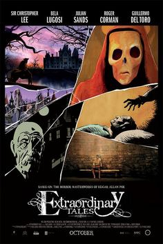 Extraordinary Tales, a must see. Edgar Allan Poe stories set to animation and narrated by the likes of Bela Lugosi, Guillermo Del Toro, Sir Christopher Lee Edgar Allan Poe, Hd Movies, Movies To Watch, Movies Online, Movies Free, Movies 2019, Scary Movies, Horror Movie Posters, Horror Movies