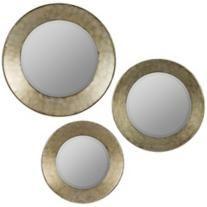 "Cooper Classics Kadri 22 1/2"" Round Wall Mirror Set of 3"