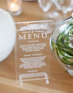Clear perspex engraved table standing menu by http://www.secretdiary.co.za