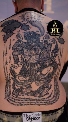 Done traditional Thai sak yant tattoo by Tanadol(www.bt-tattoo.com) #bttattoo #bttattoothailand #thaibambootattoo #thaibamboo #sakyant #thaitattoo #thailandtattoo #thailandtattooshop #bangkoktattoo #bangkoktattooshop #bangkoktattoostudio #thailand #bangkok #tattoo Khmer Tattoo, Thai Tattoo, Tattoo Shop, Tattoo Art, Body Tattoos, Sleeve Tattoos, Sak Yant Tattoo, Thailand Tattoo, Bamboo Tattoo