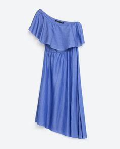 Image 8 of DENIM DRESS WITH ASYMMETRIC FRILL from Zara