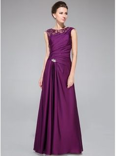 Mother of the Bride Dresses - $158.99 - A-Line/Princess Scoop Neck Floor-Length Lace Satin Chiffon Mother of the Bride Dress With Ruffle Beading  http://www.dressfirst.com/A-Line-Princess-Scoop-Neck-Floor-Length-Lace-Satin-Chiffon-Mother-Of-The-Bride-Dress-With-Ruffle-Beading-008040832-g40832