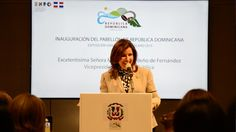 """""""This Pavilion continues to be an exposition of our culture, our hospitality and the smile that characterizes the Dominican people."""" Margarita Cedeño de Fernández, VP of the Dominican Republic"""
