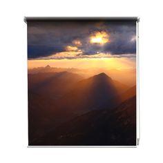 Rolgordijn Zon breekt door | De rolgordijnen van YouPri zijn iets heel bijzonders! Maak keuze uit een verduisterend of een lichtdoorlatend rolgordijn. Inclusief ophangmechanisme voor wand of plafond! #rolgordijn #gordijn #lichtdoorlatend #verduisterend #goedkoop #voordelig #polyester #natuur #landschap #bergen #zon