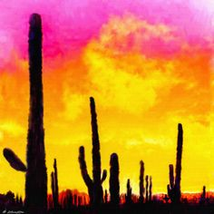 Title  Painting Of Saguaro Cactus Arizona Sunset   Artist  Nadine and Bob Johnston   Medium  Painting - Digital Art Paintings - Canvas & Prints. Summer Special: Greeting Or Note Cards @ Our Cost - Save Even More 10 Or 25 Packs